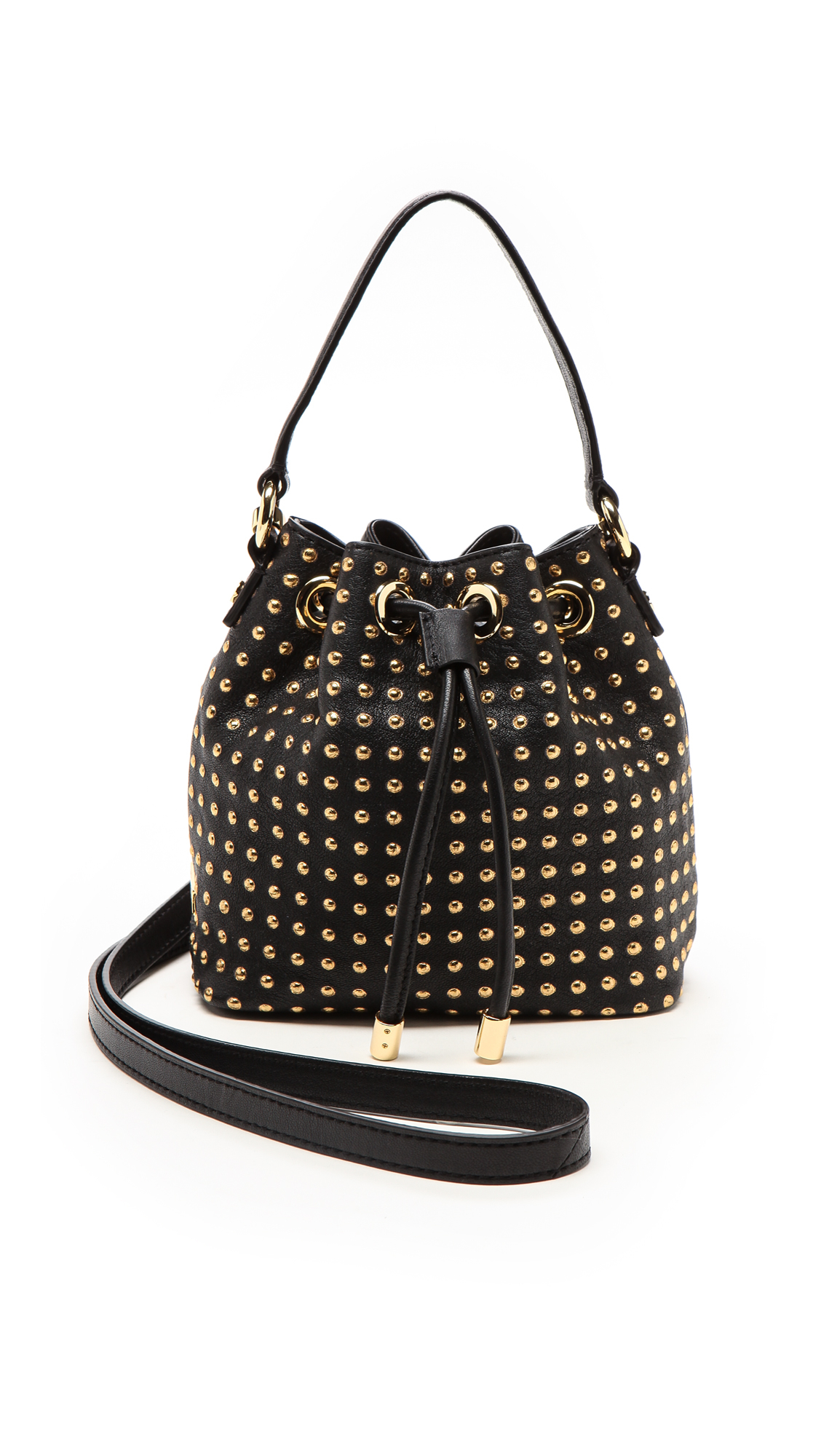 89f1d049de4e Lyst - MILLY Perry Dot Mini Drawstring Bag - Blackgold in Metallic