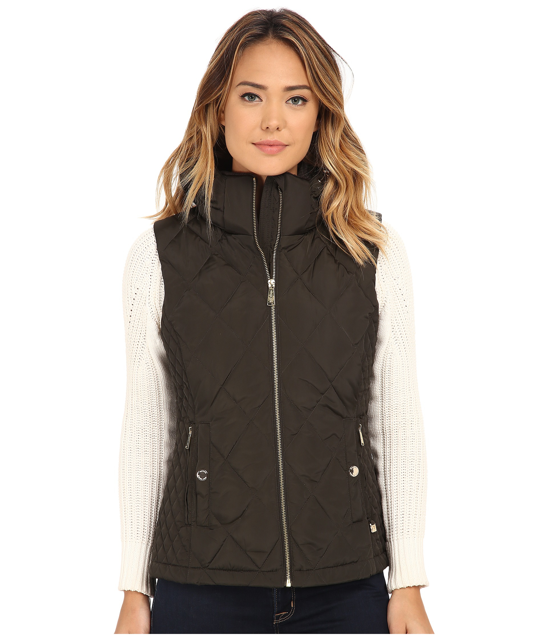Michael Michael Kors Quilted Sporting Vest In Green Lyst