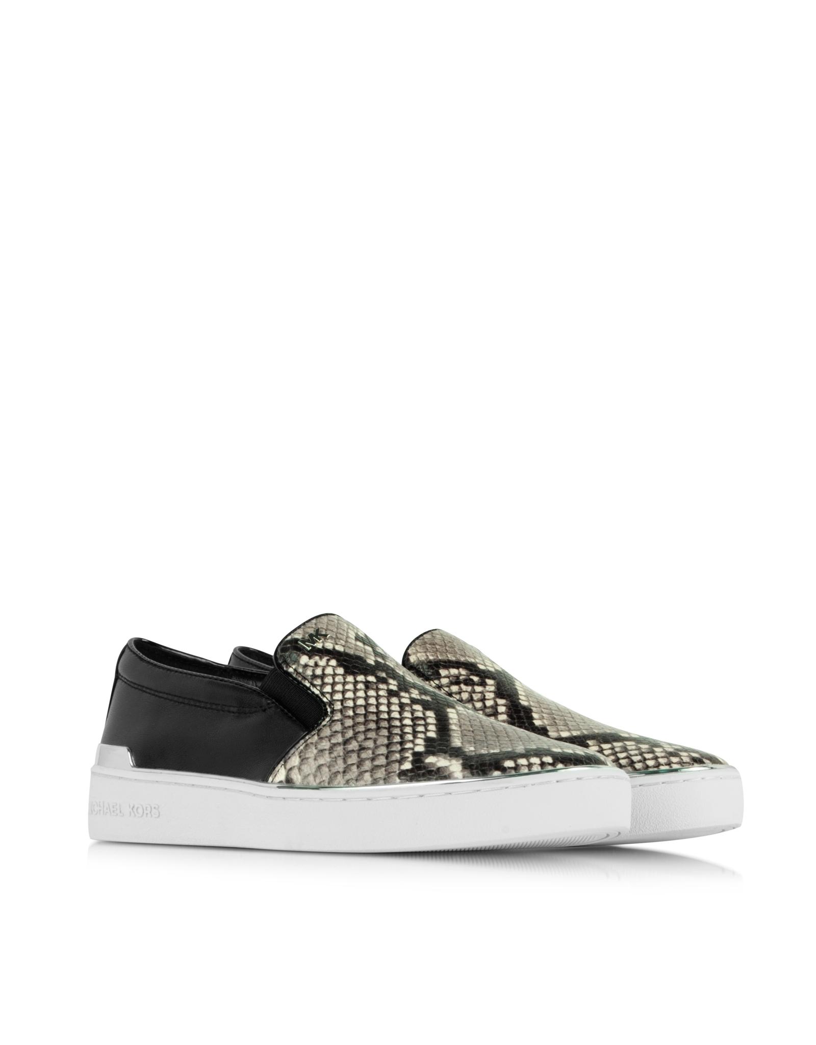 a9e5e740046 Michael Kors Kyle Embossed Snake Leather Slip On Sneaker - Lyst
