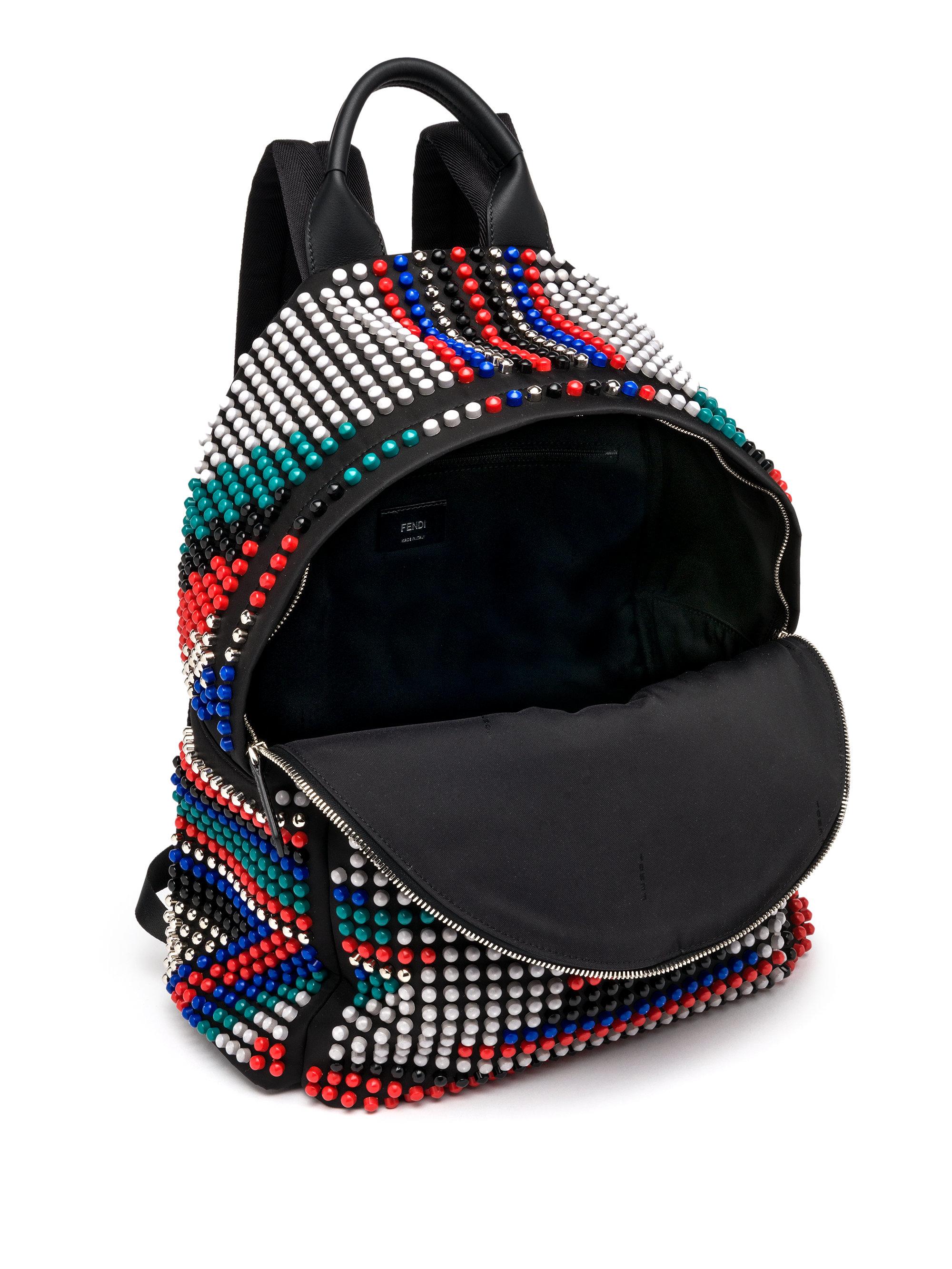 Fendi Zaino Nylon Studded Backpack In Black For Men Lyst
