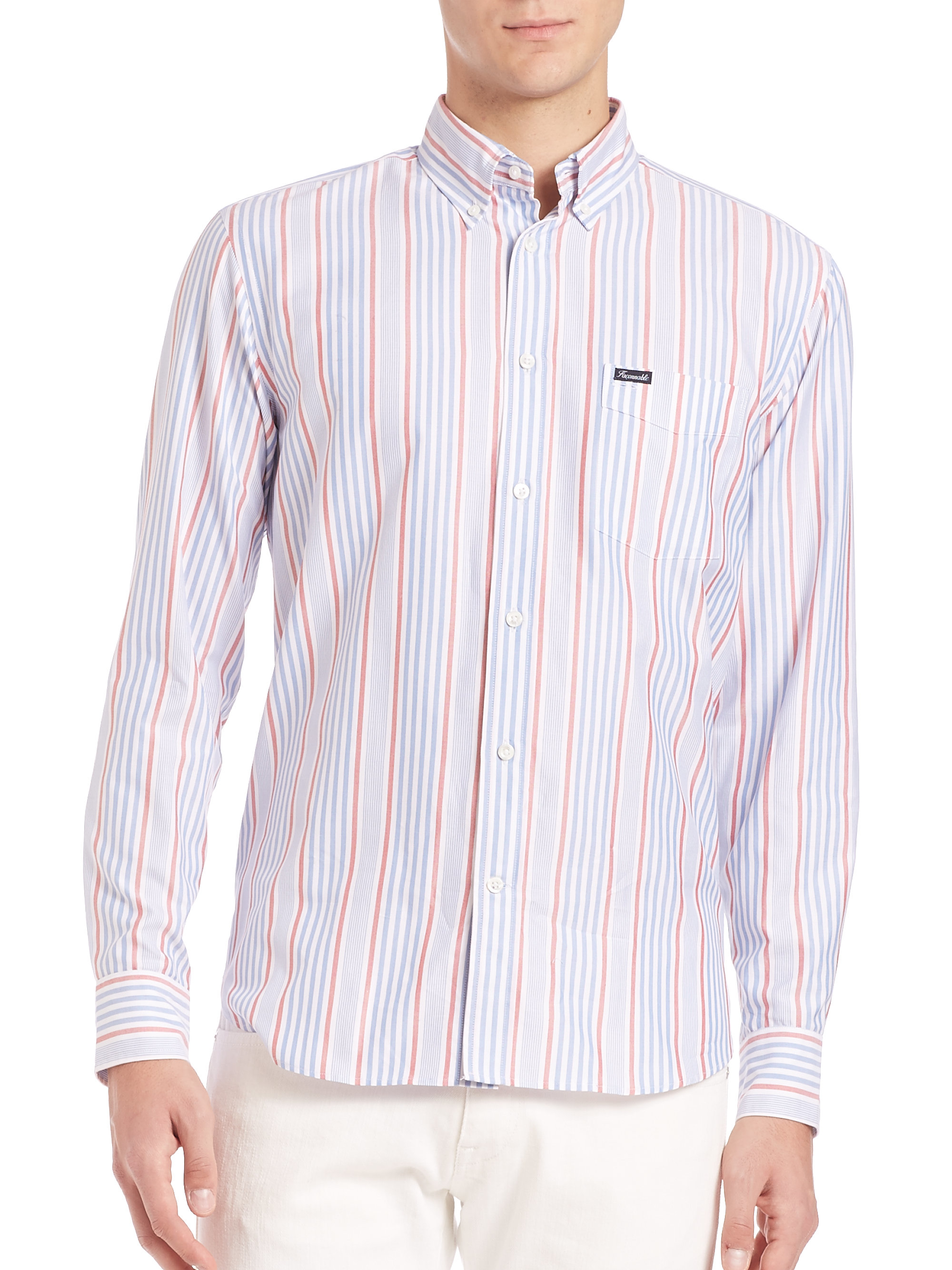 Lyst Fa Onnable Vertical Striped Shirt In Red For Men