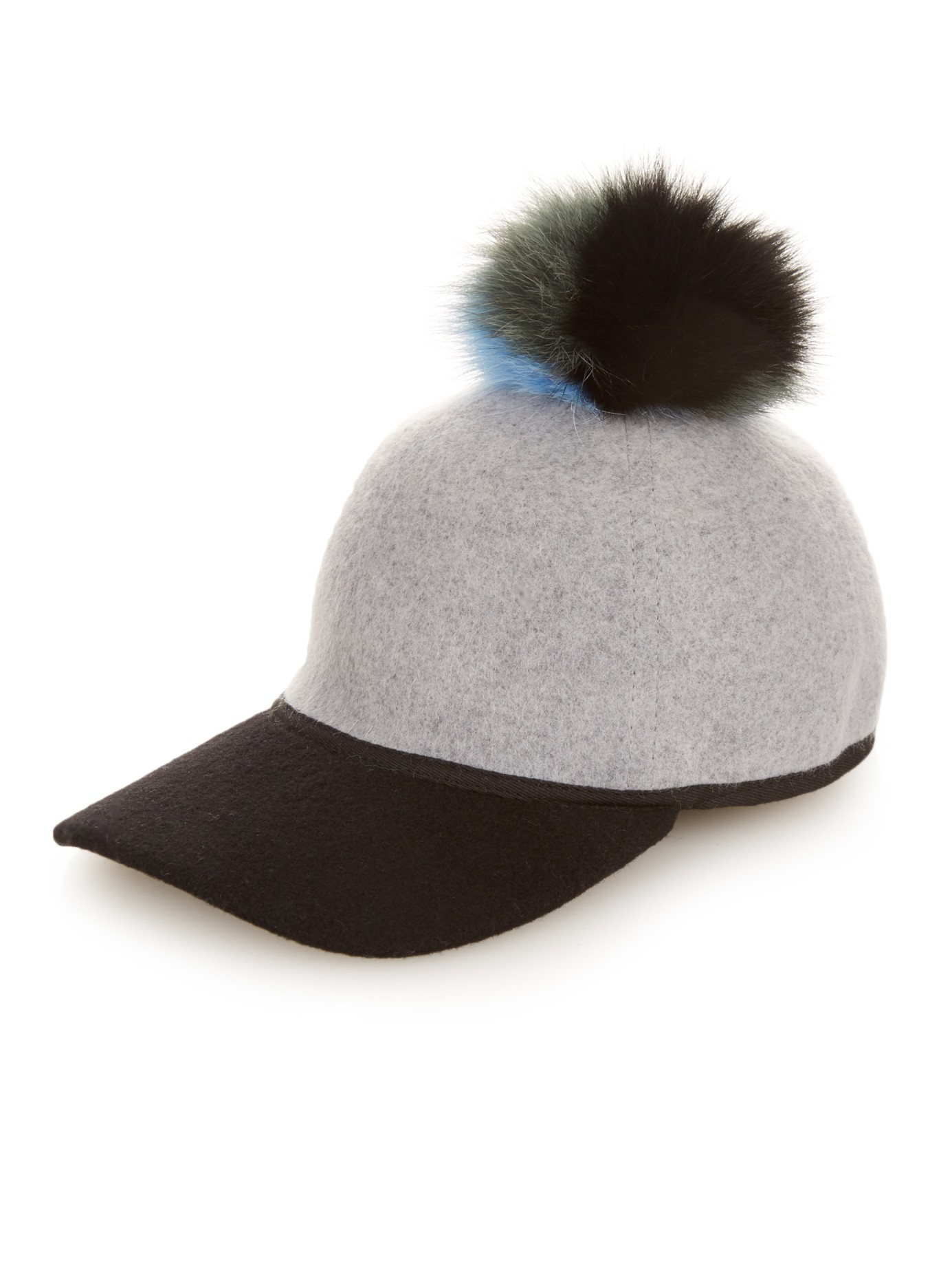 bca25ddc509 Charlotte Simone Sass Fox-fur Pompom Cap in Gray - Lyst