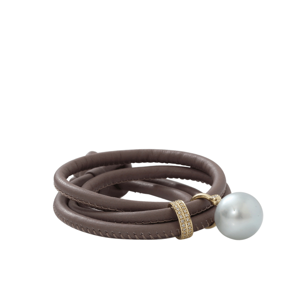 lyst mizuki pearl and leather wrap bracelet in gray. Black Bedroom Furniture Sets. Home Design Ideas