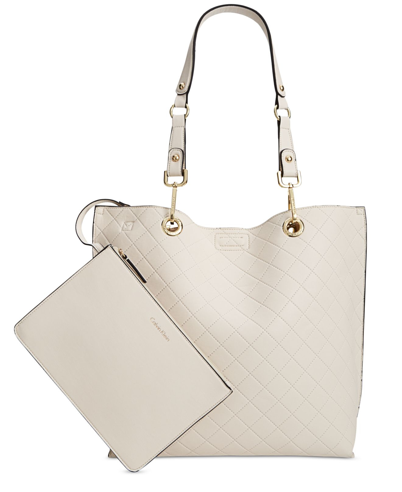d2f1be94877 Calvin Klein Medium Quilted Reversible Tote With Pouch in White - Lyst