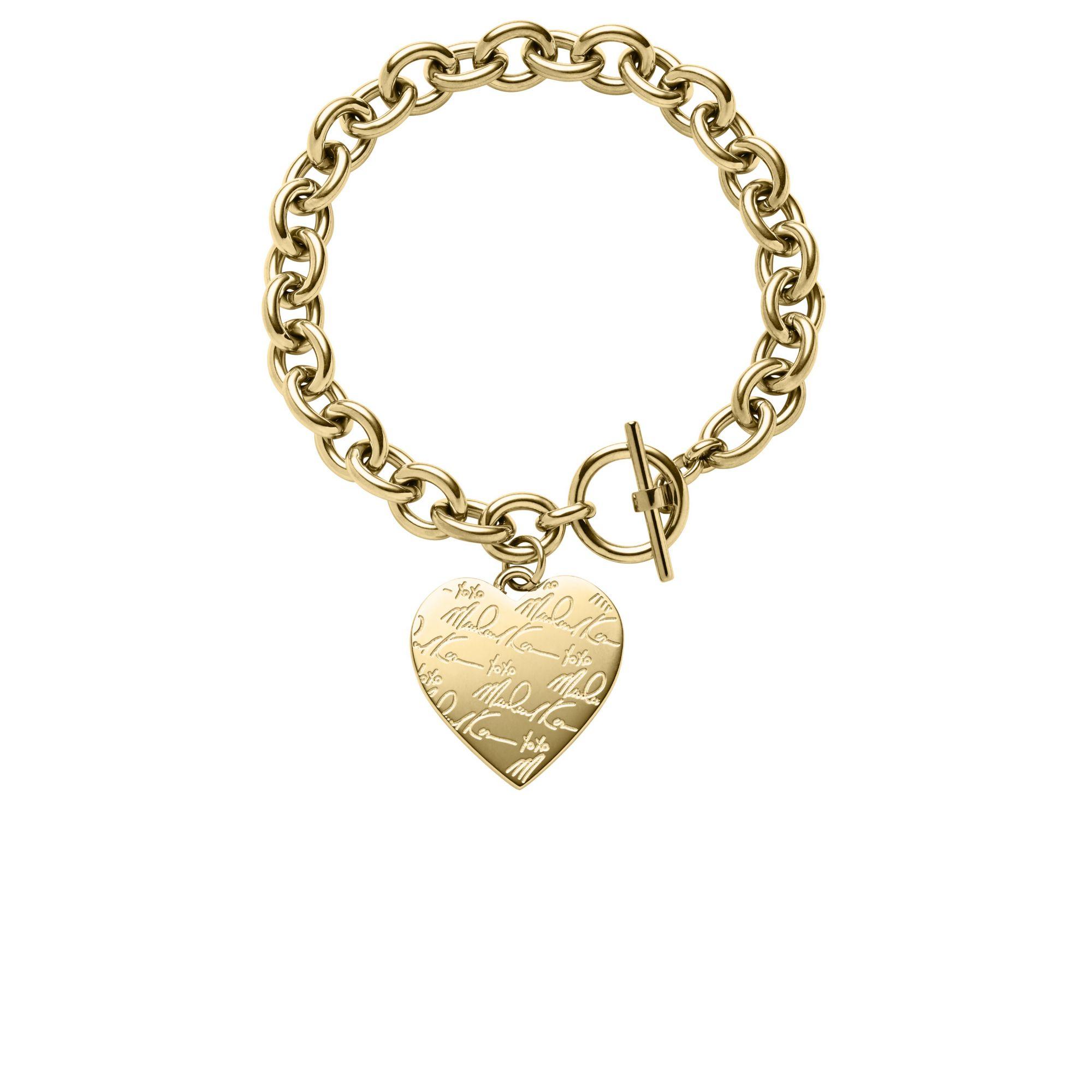 04282ae000c0 Lyst - Michael Kors Pavé Gold-tone Heart Charm Bracelet in Metallic