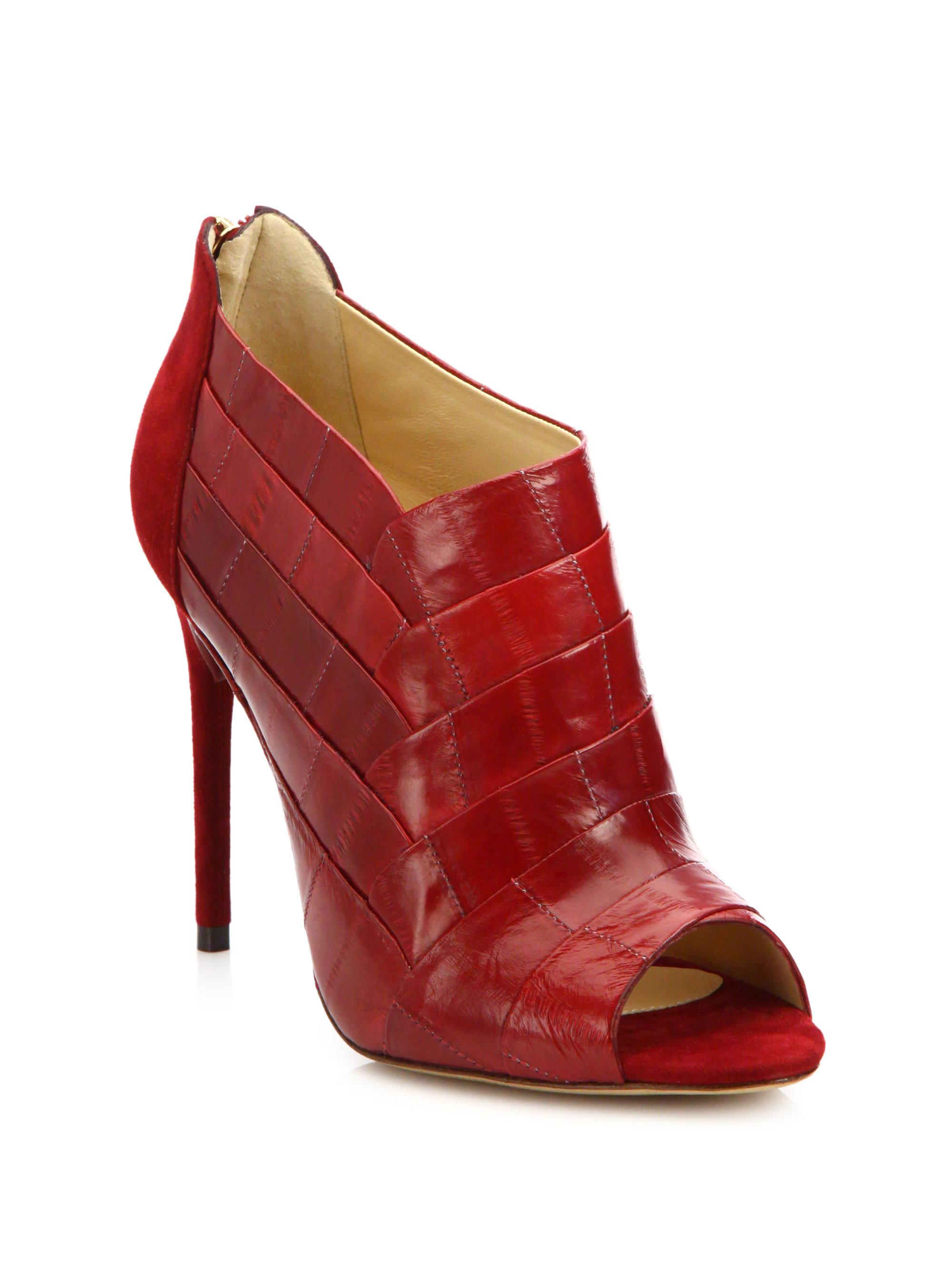 sale popular sale under $60 Alexandre Birman Snakeskin Peep-Toe Booties cMOwT8hUo