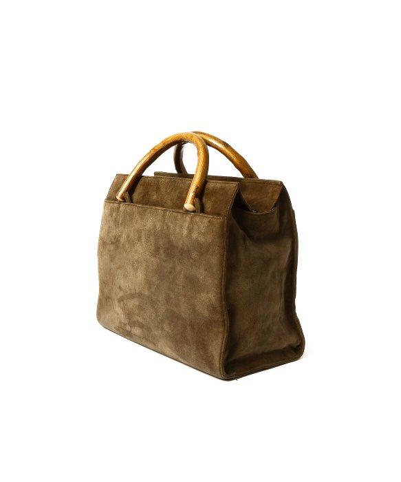 Prada Preowned Khaki Suede Bamboo Top Handle Tote Bag in Khaki | Lyst
