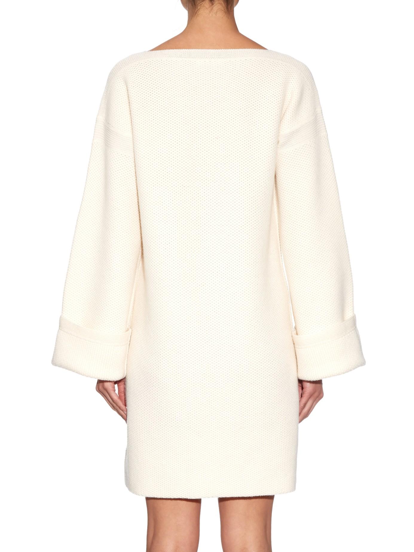Wool Knit White Sleeve By Wide See Dress Chloé In Mini Lyst Z7xqI