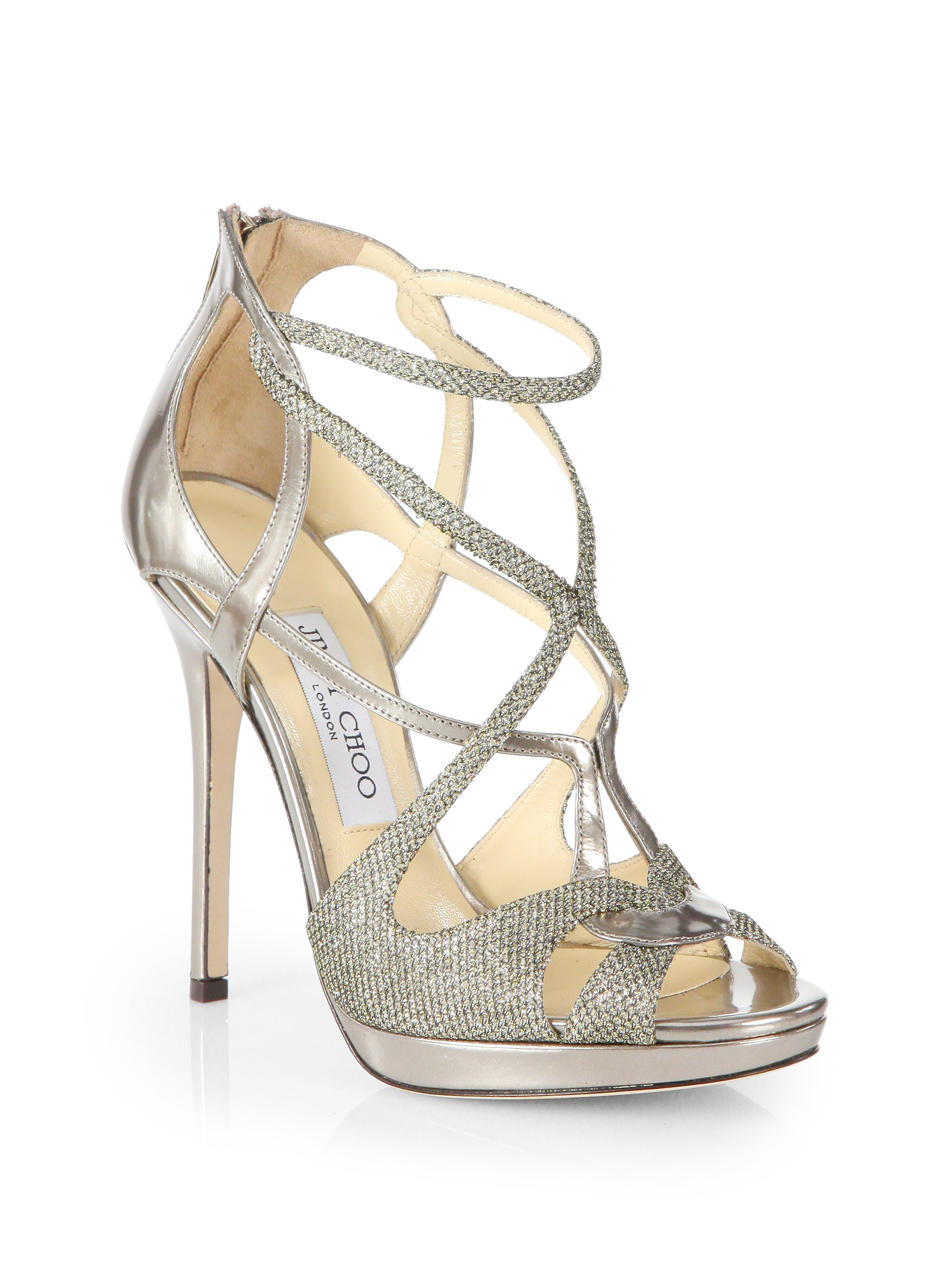 Lyst - Jimmy choo Sazerac Glitter Metallic Leather Strappy Sandals ...
