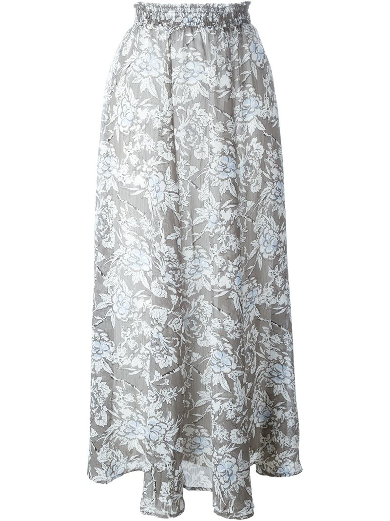 set floral print maxi skirt in gray lyst