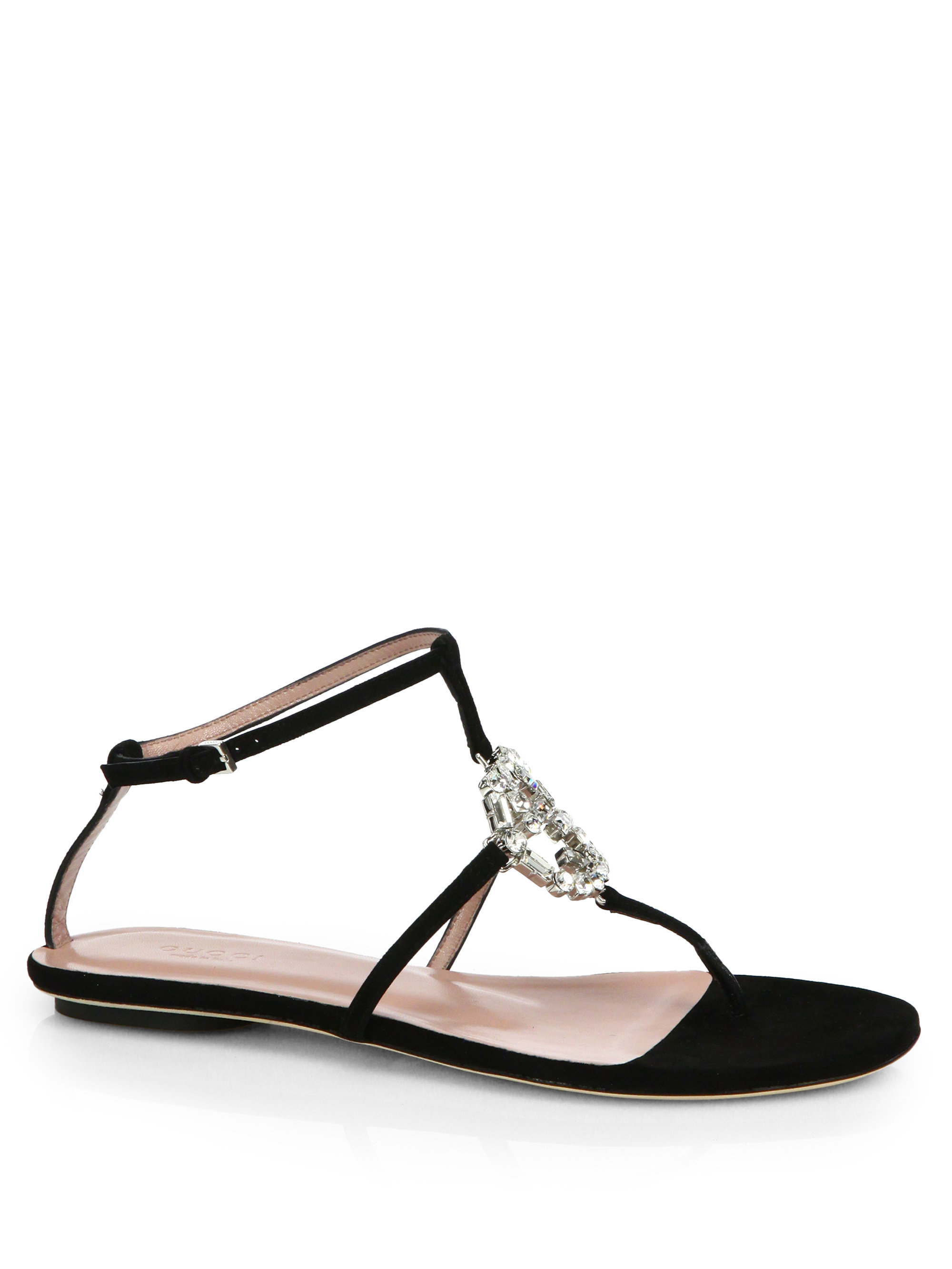 Lyst - Gucci GG Crystal Leather and Suede Sandals in Black