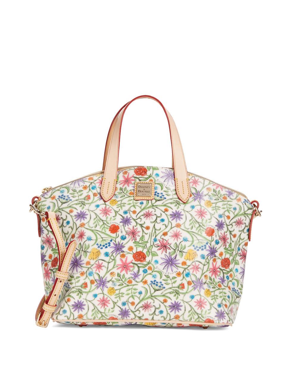 Dooney & bourke Eva Floral Satchel Bag in White | Lyst