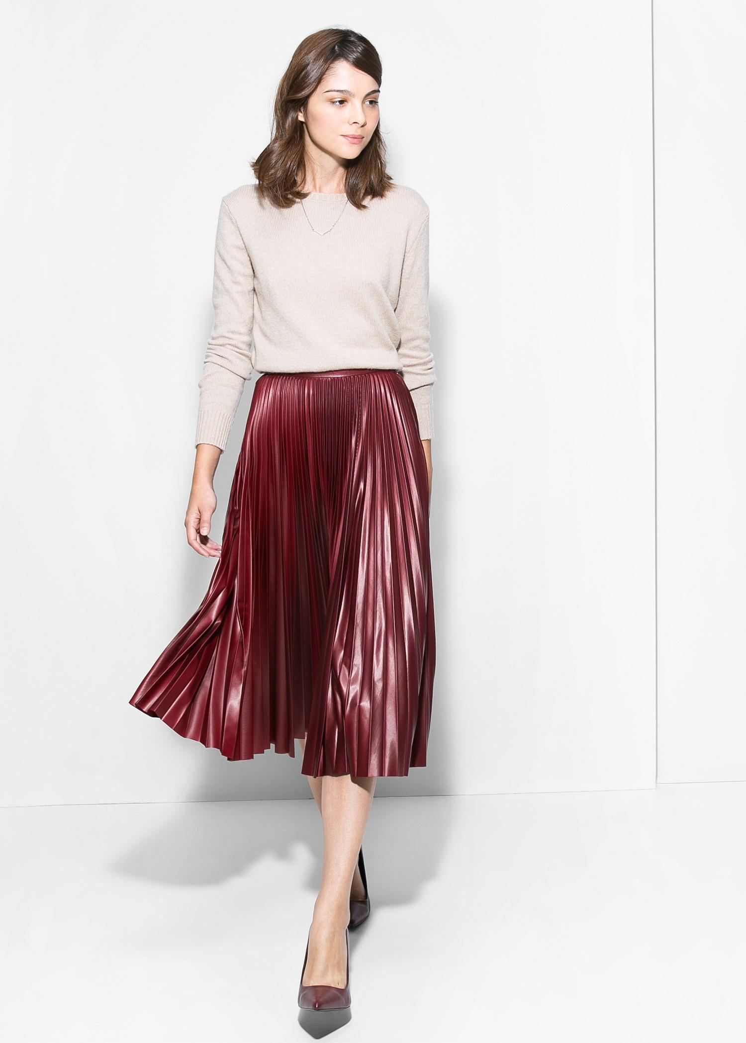 f9428851e3 Mango Pleated Midi Skirt in Red - Lyst