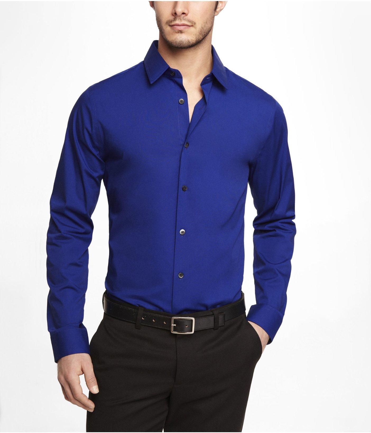 Express extra slim 1mx stretch cotton shirt in blue for for Extra slim dress shirt