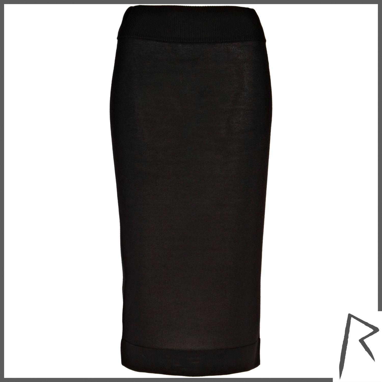River island Black Rihanna Knit Midi Skirt in Black   Lyst