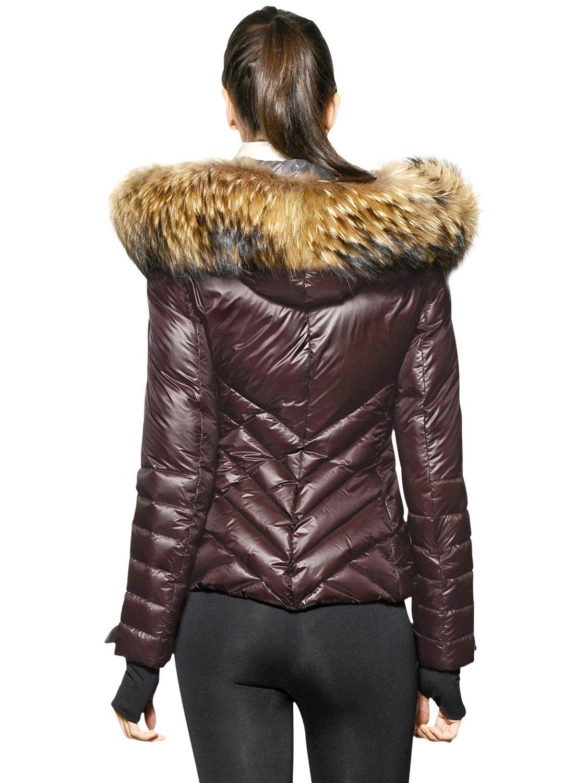 Lyst Moncler Grenoble Makalu Raccoon Fur Nylon Down
