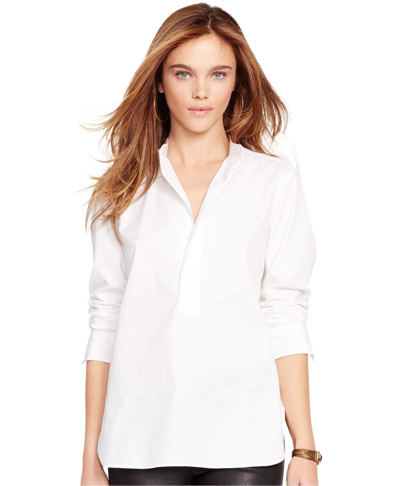 Lyst - Polo Ralph Lauren Long-sleeve Tunic in White 55e7054f61