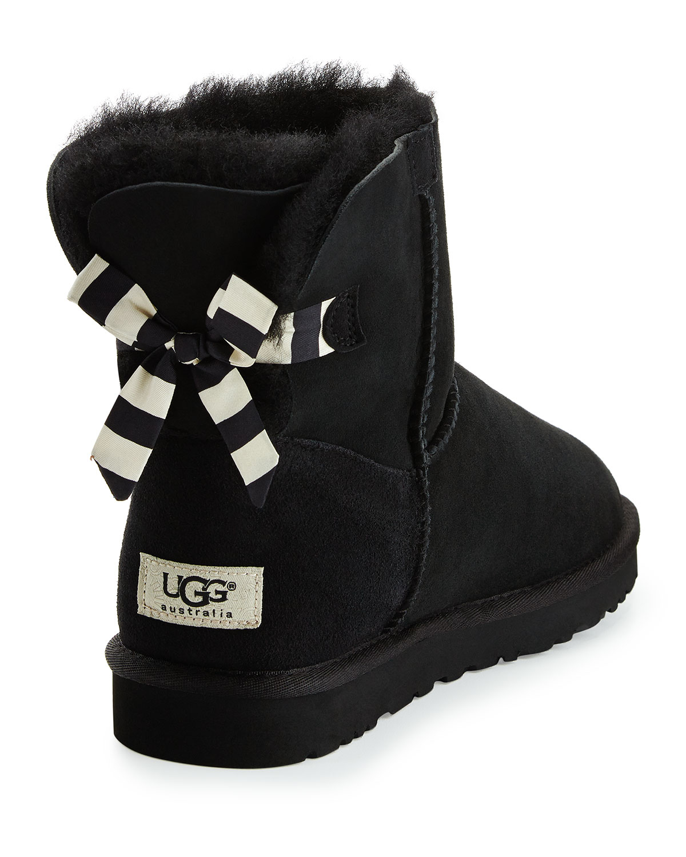 lyst ugg mini bailey striped bow back boot in black rh lyst com