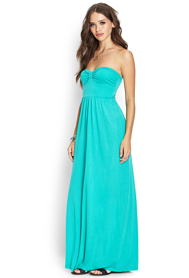 Forever 21 Strapless Maxi Dress in Green | Lyst