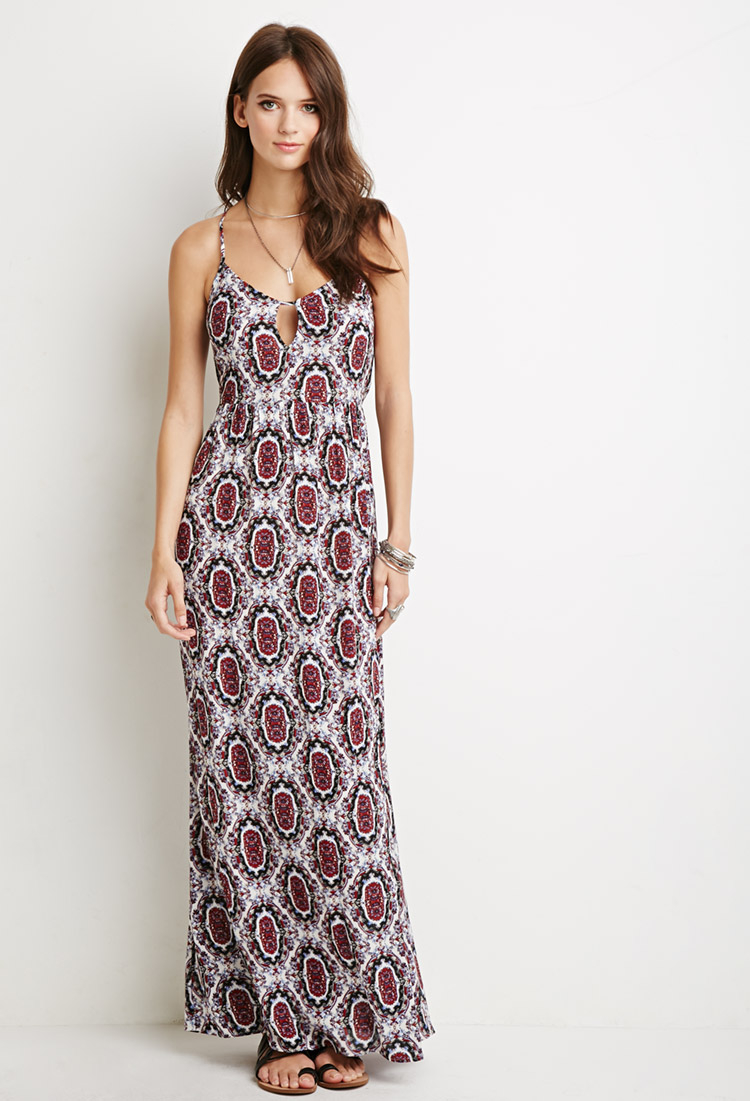 2cf8c688a66e0 Forever 21 Medallion Print Self-tie Maxi Dress in Natural - Lyst