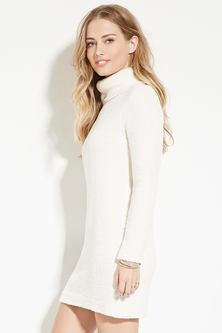 Lyst Forever 21 Fuzzy Turtleneck Sweater Dress In Natural