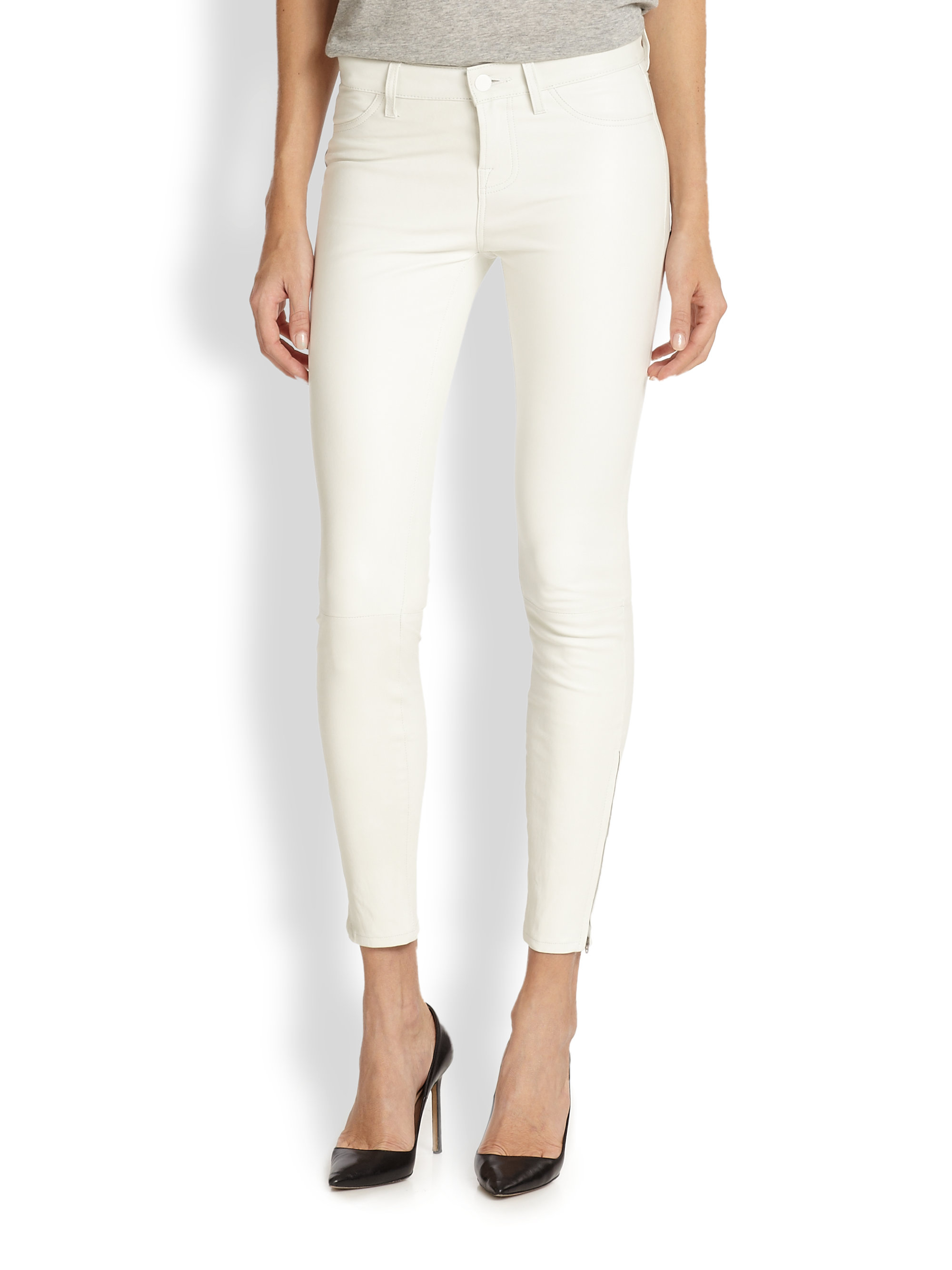 J brand Ankle Zip Leather Skinny Jeans in White | Lyst