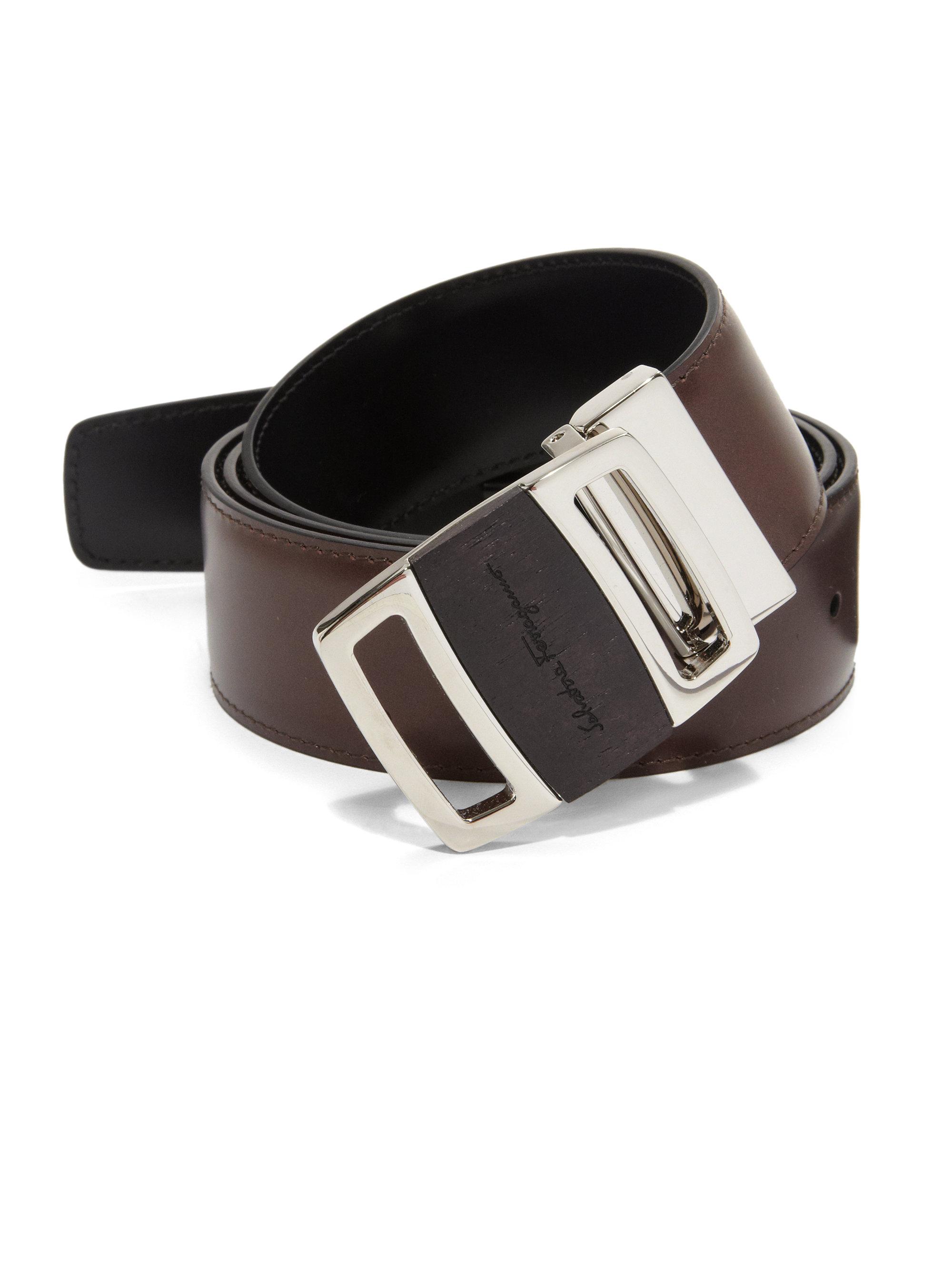 ferragamo adjustable leather belt in brown for lyst
