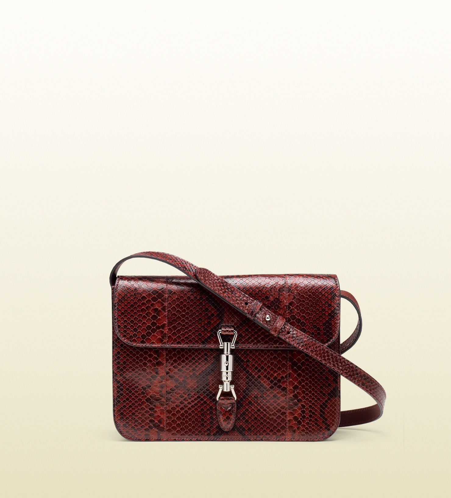 1cec00d18ad80b Gucci Jackie Soft Python Flap Shoulder Bag in Red - Lyst