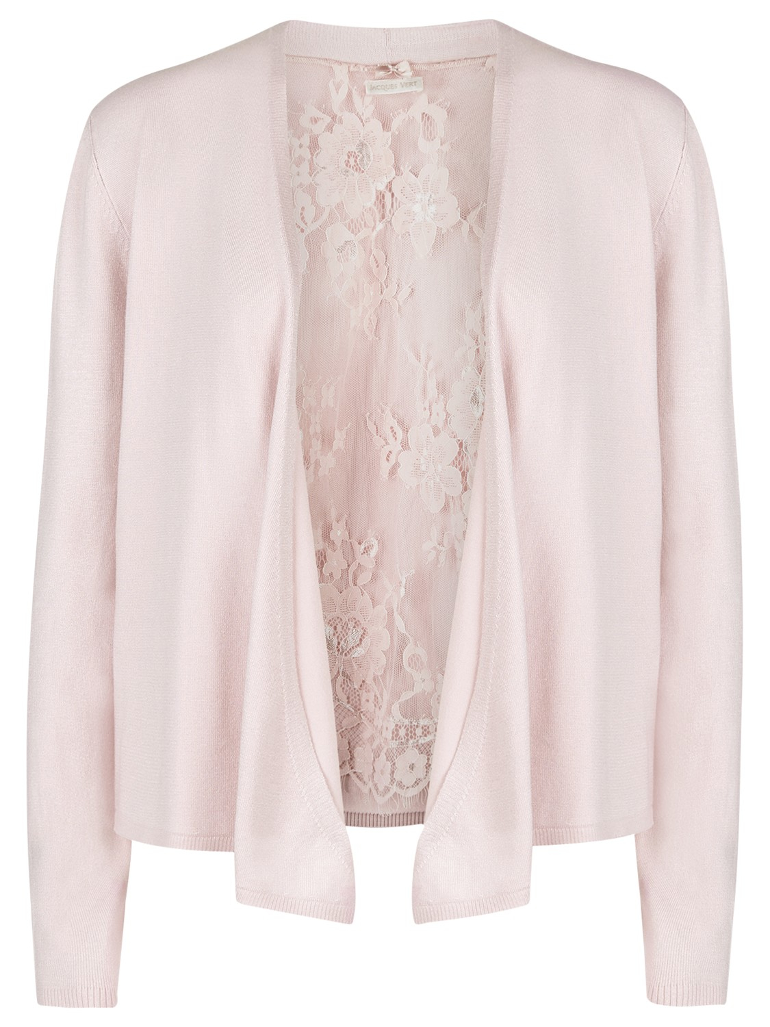 Jacques vert Lace Waterfall Cardigan in Pink | Lyst