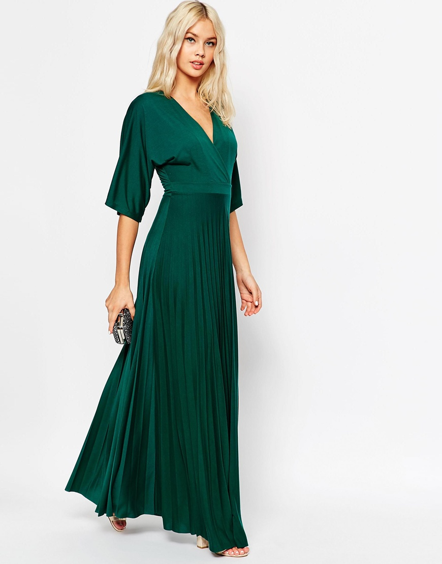 DESIGN cape pleated maxi dress - Blue Asos 4VjXiTF