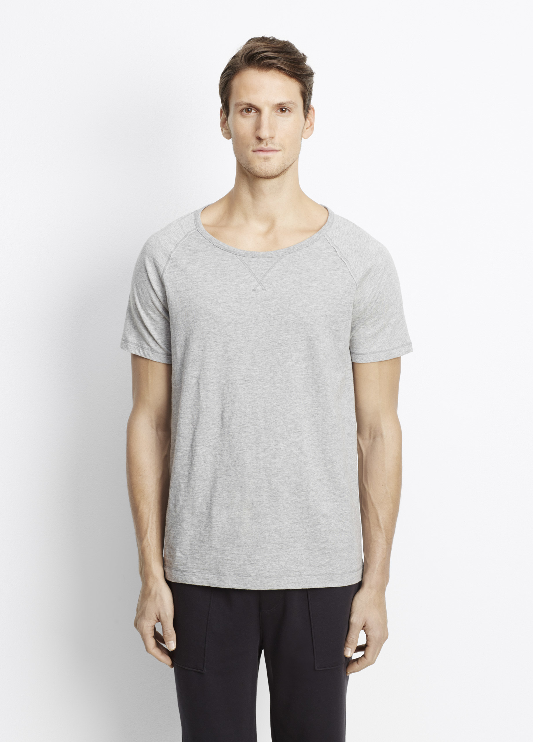 Vince slub cotton short sleeve raglan tee in gray for men for Vince tee shirts sale