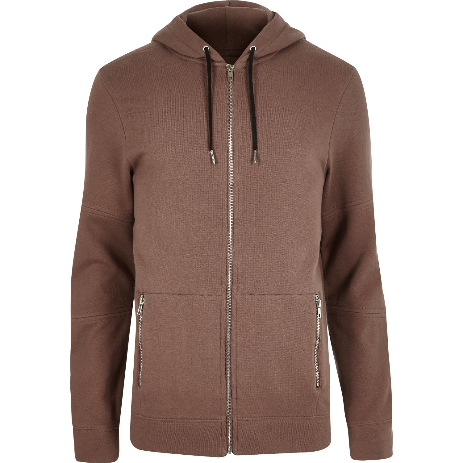 River island Brown Zip-up Pocket Hoodie in Pink for Men | Lyst