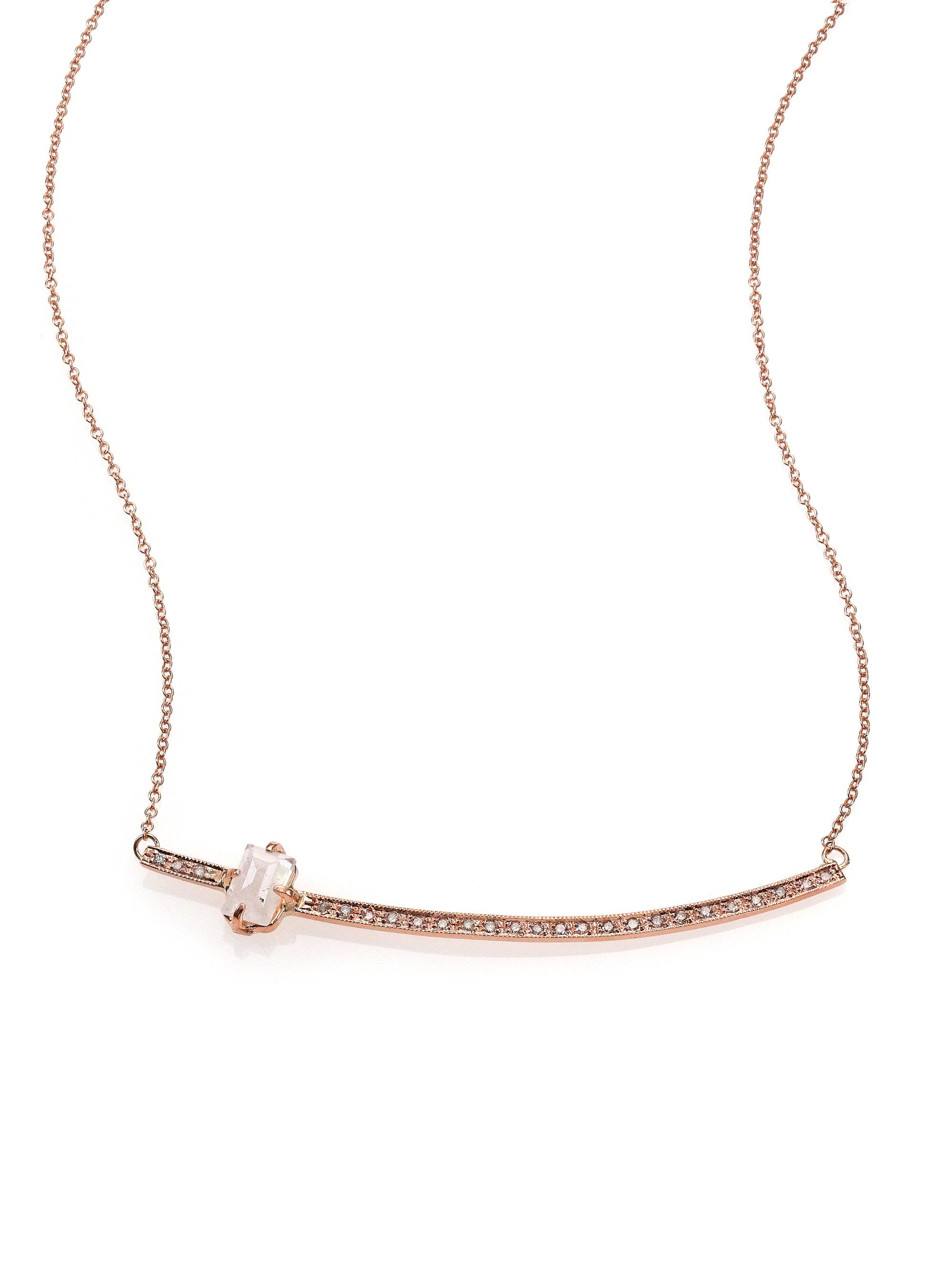 Diamond Bar Necklace Rose Gold