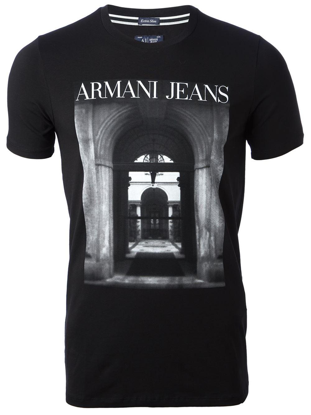 Armani jeans digital print t shirt in black for men lyst for Digital printed t shirts