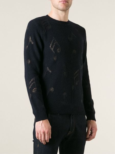 musical notes sweater paul smith musical notes see through effect sweater in 8647