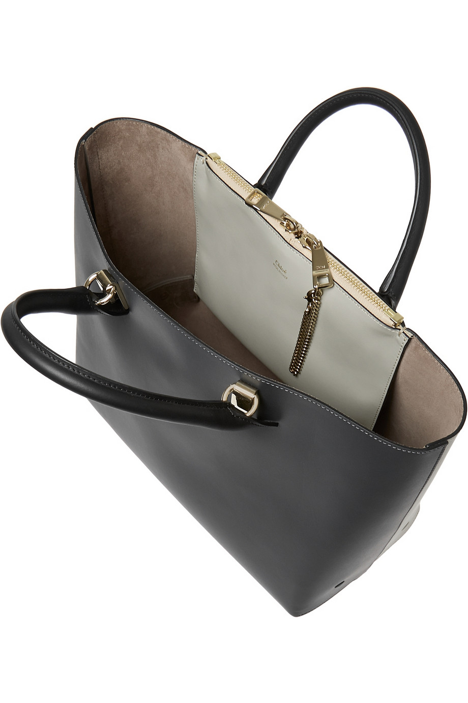 chloe satchel handbag - chloe baylee grey black leather tote, knockoff chloe bags