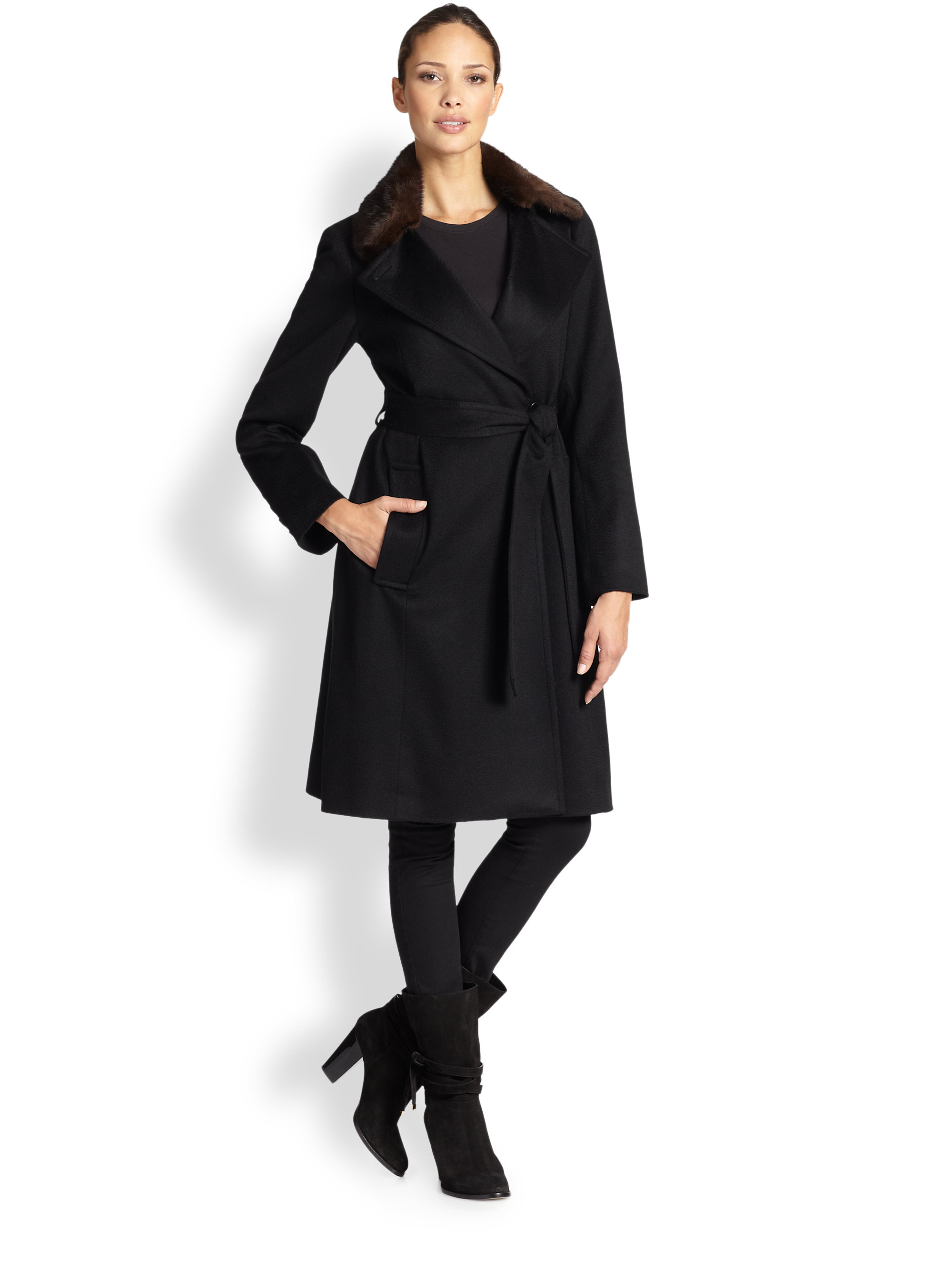 Sofia cashmere Mink-Collar Cashmere Wrap Coat in Black | Lyst