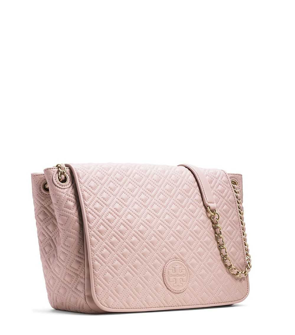 10f9e1a3abf5 Tory Burch Marion Quilted Flap Shoulder Bag in Pink - Lyst
