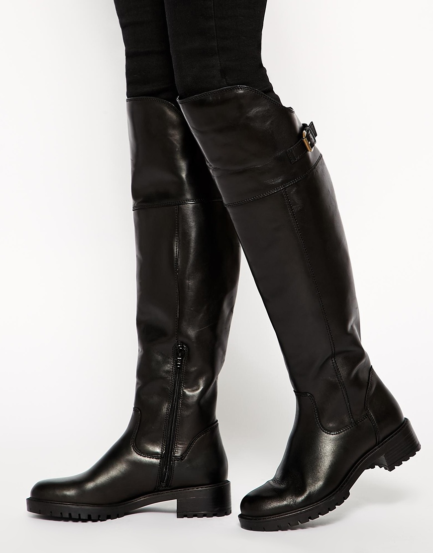Carvela kurt geiger Wrap Over The Knee Riding Boots in Black | Lyst