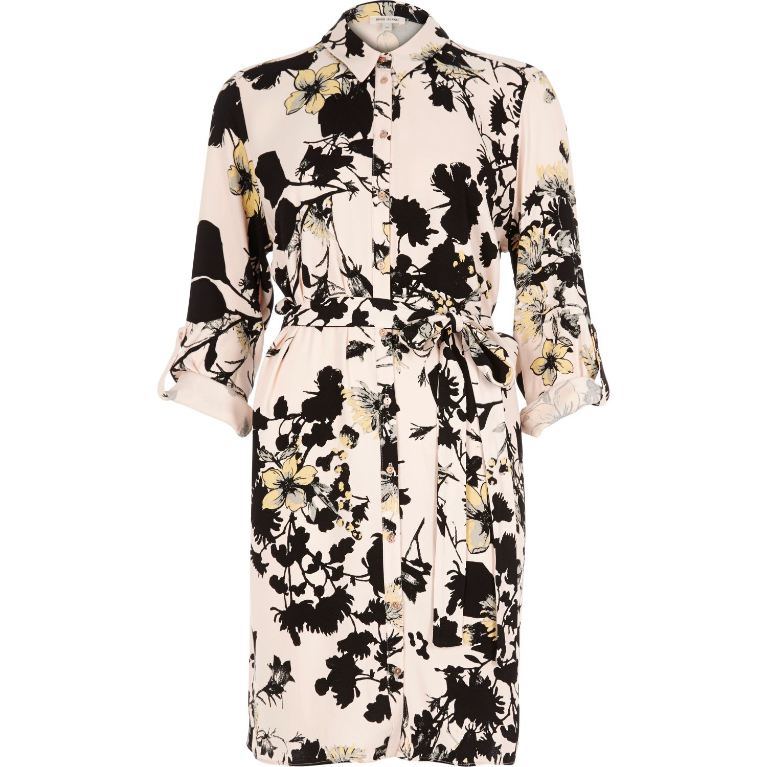 River island Pink Floral Print Shirt Dress in Pink | Lyst