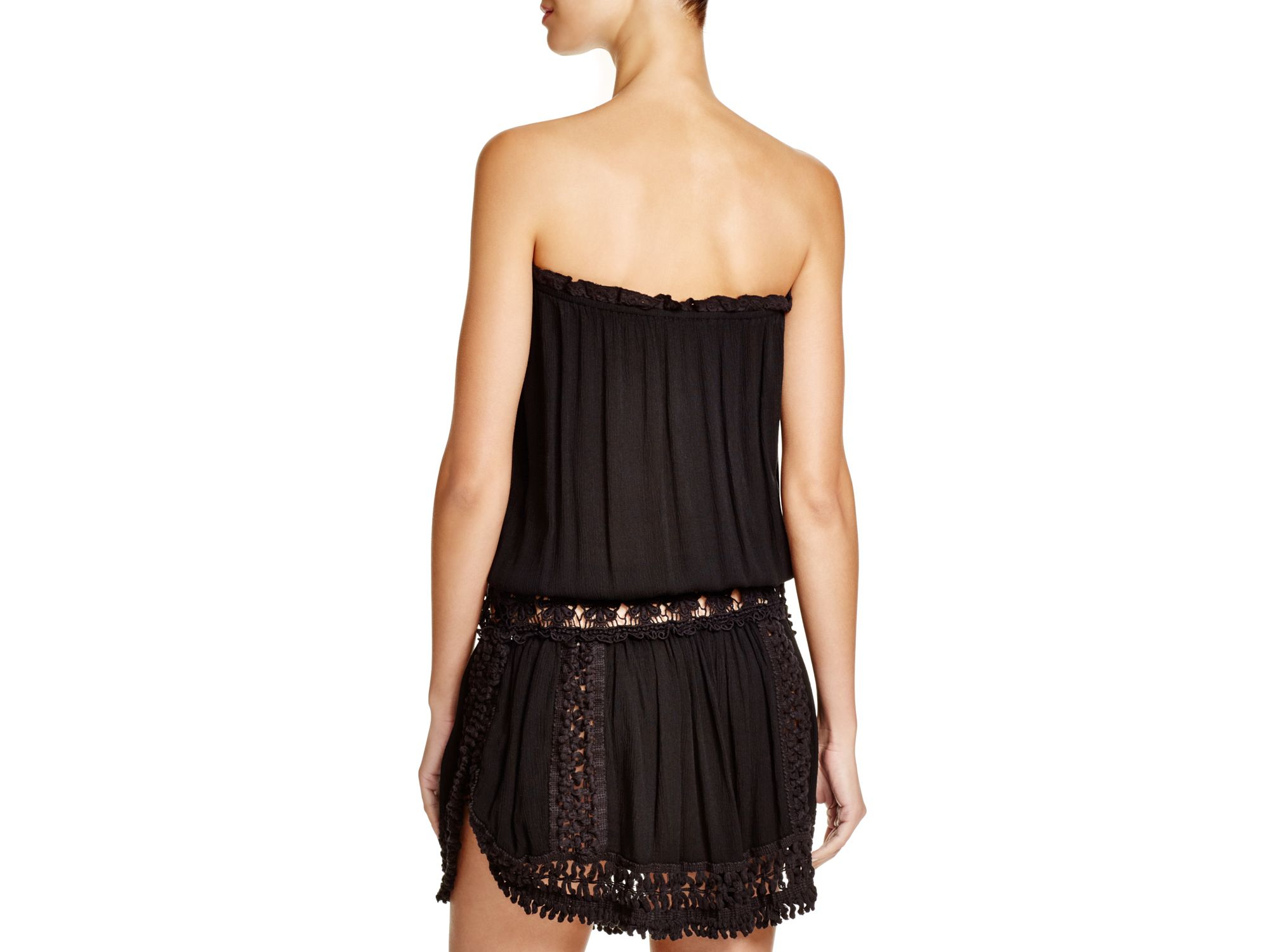 9e1d4275b7 Surf Gypsy Crocheted Strapless Dress Swim Cover Up in Black - Lyst