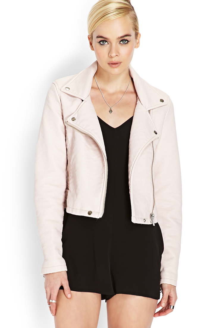 Forever 21 Pastel Moto Jacket in Pink | Lyst