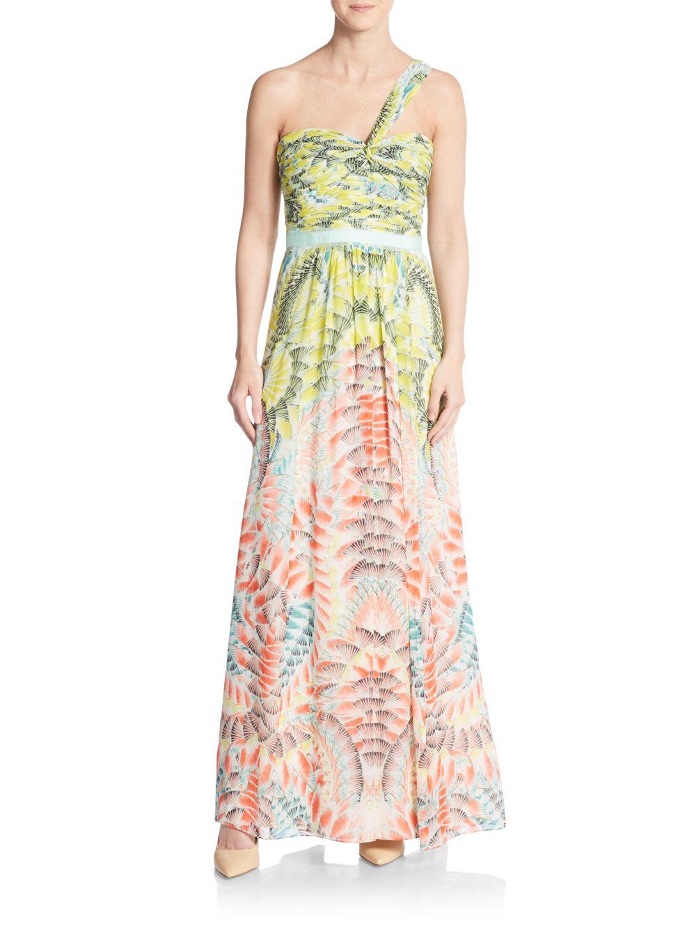01e300af4f4f BCBGMAXAZRIA Inga One-shoulder Printed Silk Maxi Dress in Green - Lyst