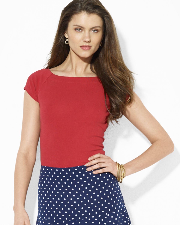 50a2358b6690cc Lyst - Ralph Lauren Lauren Cap Sleeve Boat Neck Top in Red