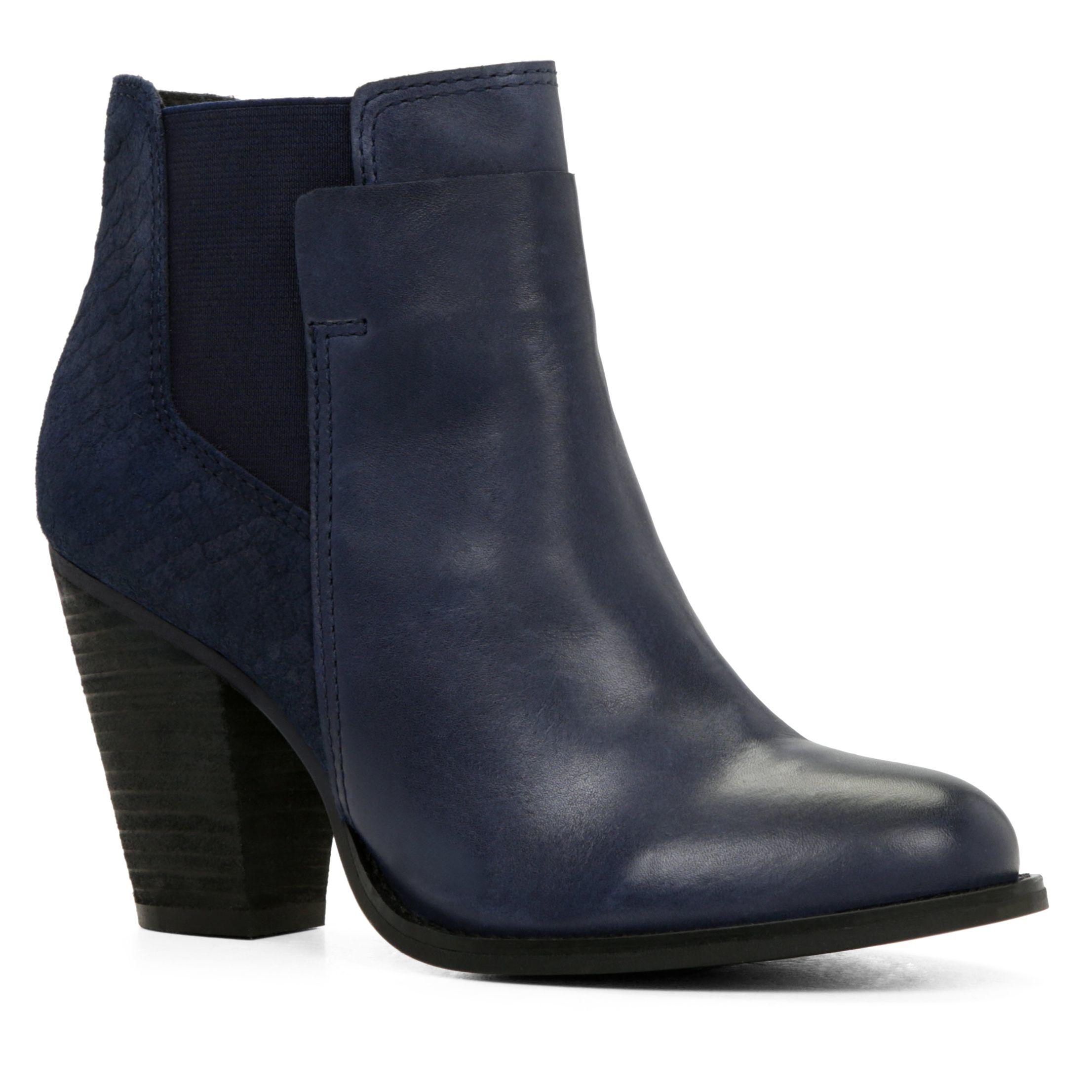 aldo sassi snakeskin chelsea ankle boots in blue navy lyst