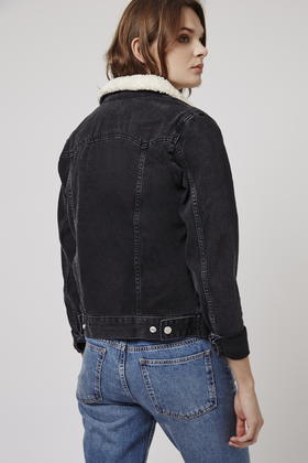 Topshop Tall Borg Denim Jacket in Black   Lyst