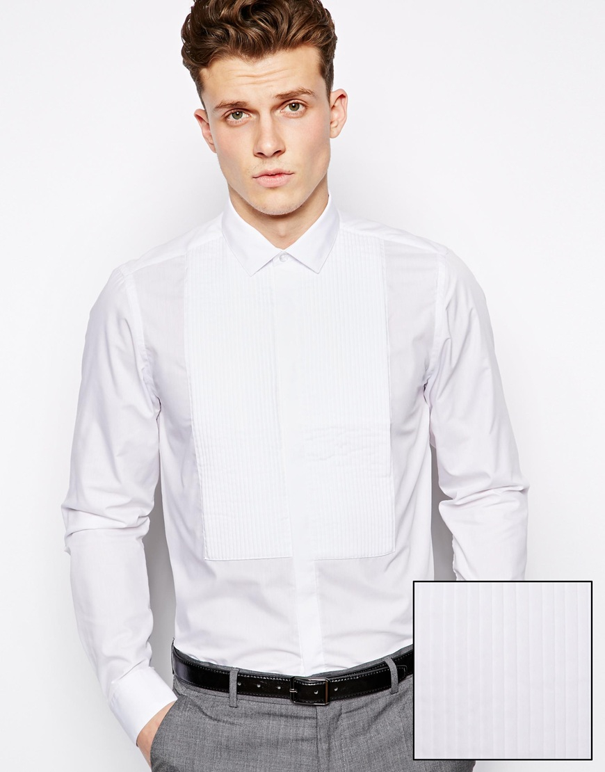 a082322b6f2 ASOS Smart Tux Shirt in Long Sleeve with Pleated Bib in White for ...