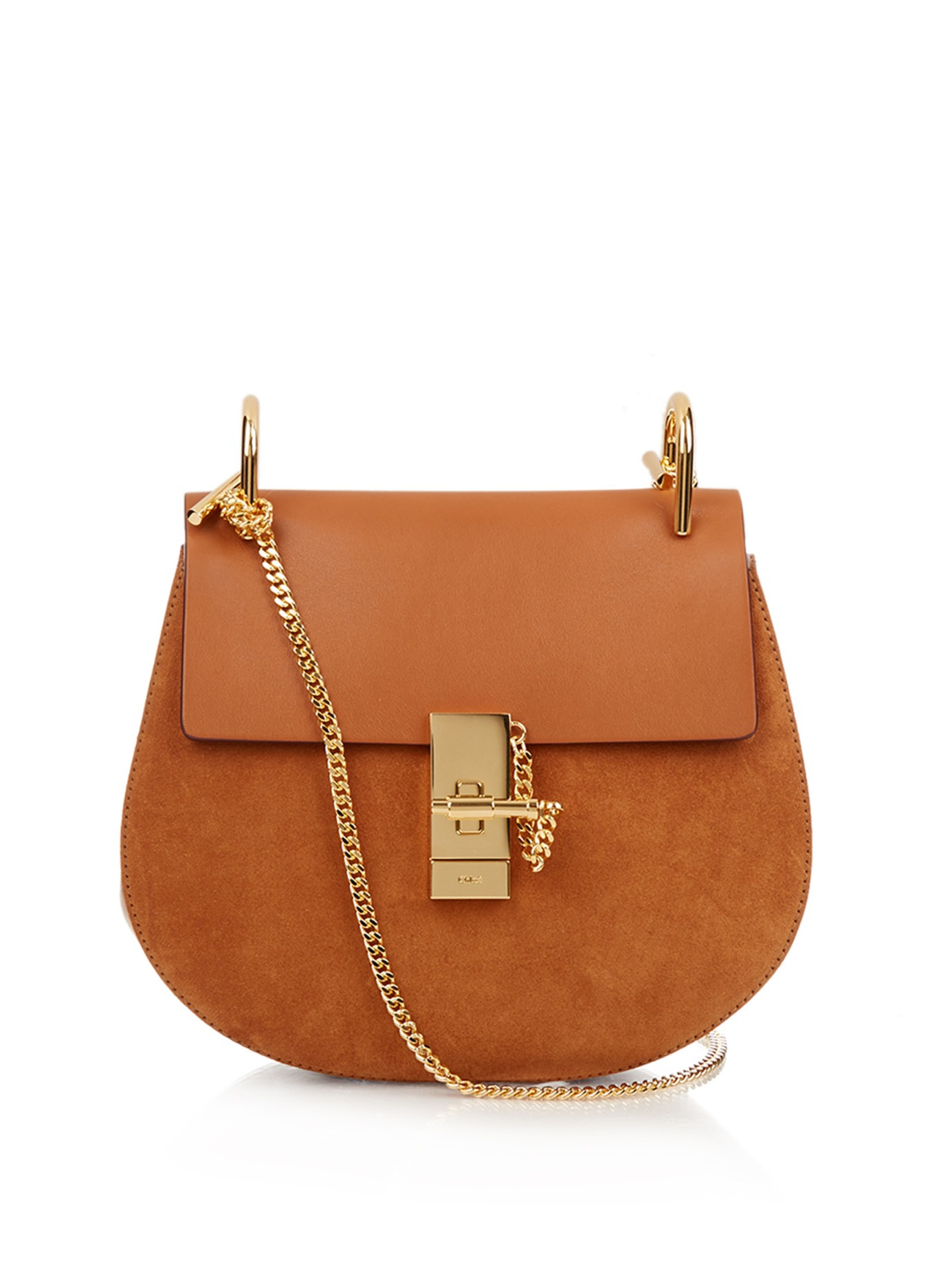 Chloé Drew Small Leather And Suede Cross-Body Bag in Brown