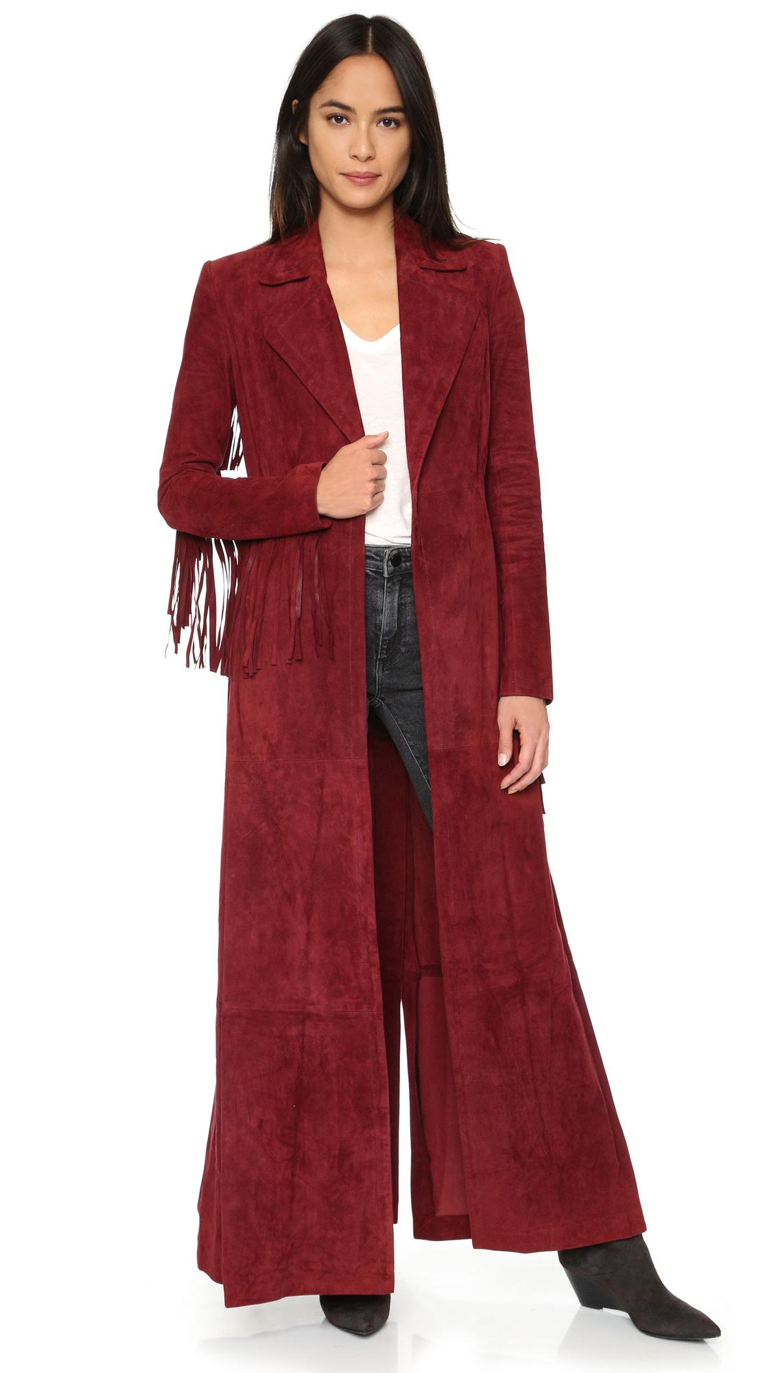 Rachel zoe Loni Suede Fringe Maxi Coat in Brown