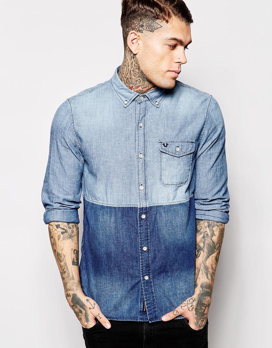 0e88852b5e4 Lyst - True Religion Denim Shirt Color Block Cut And Sew in Blue for Men